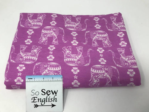 Orchid/Ivory ELEPHANTS -Poly Rayon Spandex  French Terry - By the yard