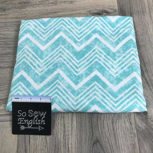 Mint/Ivory CHEVRON - Crinkle Rayon WOVEN -- By the yard