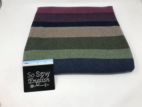 Purple/Green WIDE STRIPES - Hacci Sweater Knit - By The Yard