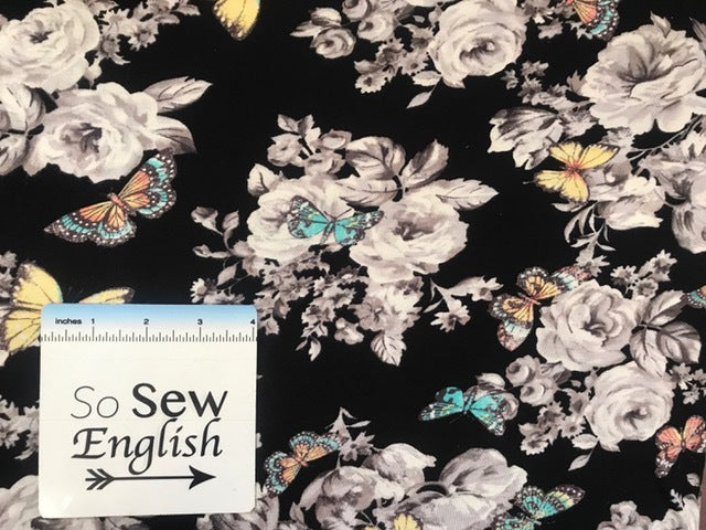 Black Floral BUTTERFLY- Rayon Spandex Knit - By the yard