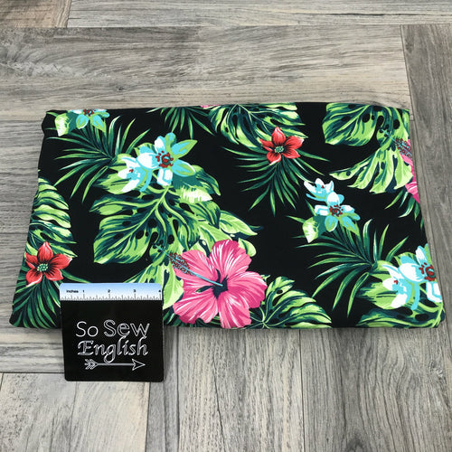 Black SCENE TROPIC - Single Brushed Poly Spandex -By The Yard