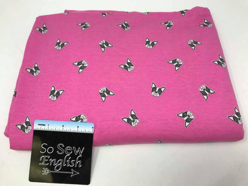 Fuchsia PUPPY DOGS - Poly Rayon French Terry - By the yard