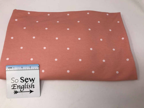 Blush POLKA DOTS - Poly Rayon Spandex French Terry- By the yard