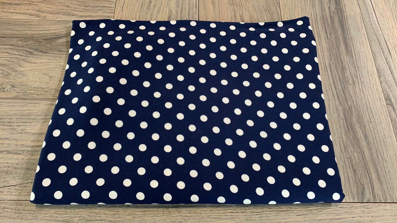 Navy/Ivory Medium Dot - Single Brushed Polyester - By The Yard