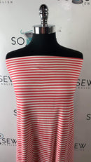 Coral/Ivory Tiny Stripe - Double Brushed Polyester - By The Yard