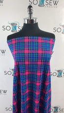 Blue/Pink Plaid - Ponte  - By The Yard