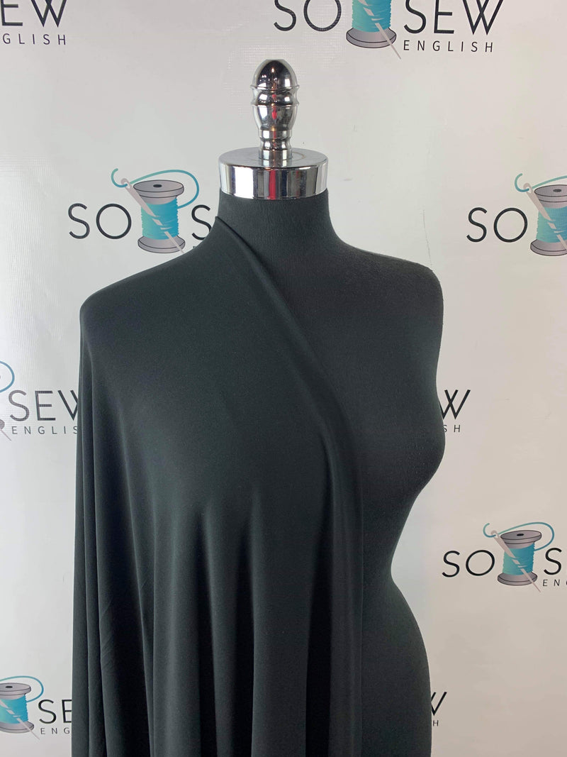 Solid Black - Double Brushed Polyester - By The Yard