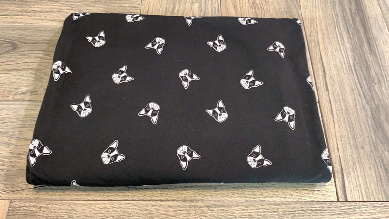 Black/Ivory Puppies - Double Brushed Polyester - By The Yard