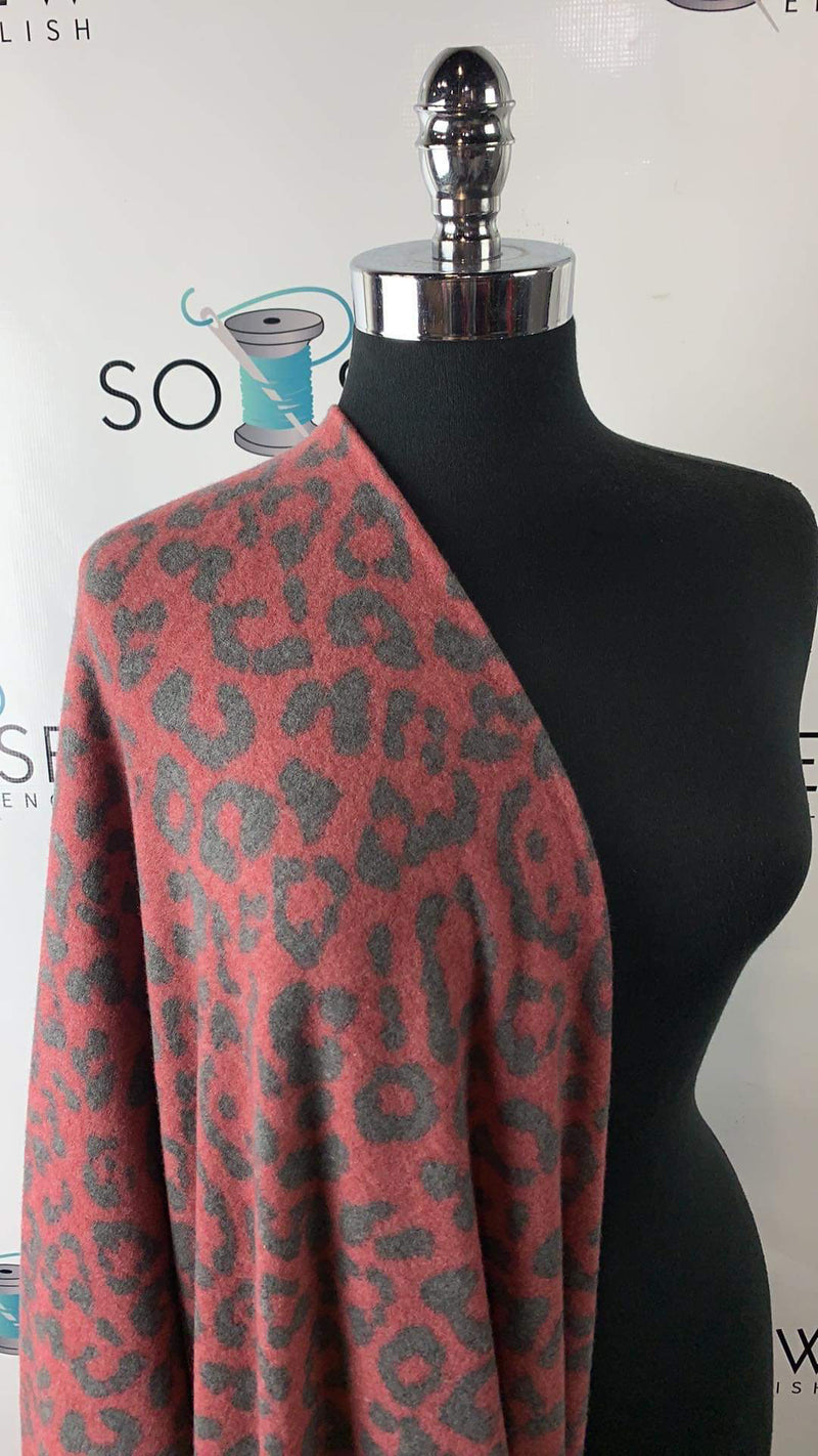 "Red/Black Leopard ""Cashmere"" - Sweater Knit - By The Yard"