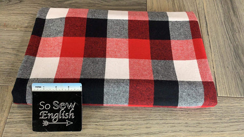 Black/White/Red Flannel - Cotton Woven - By The Yard