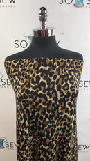 Black/Brown Leopard Rib - Ribbed Polyester Spandex - By The Yard