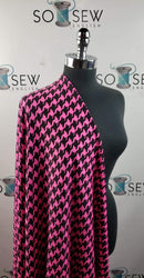 Fuchsia/Black Houndstooth - Lightweight Performance -By The Yard