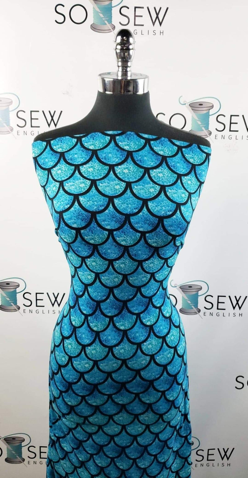 Teal/Black Scales - Double Brushed Poly Spandex -By The Yard