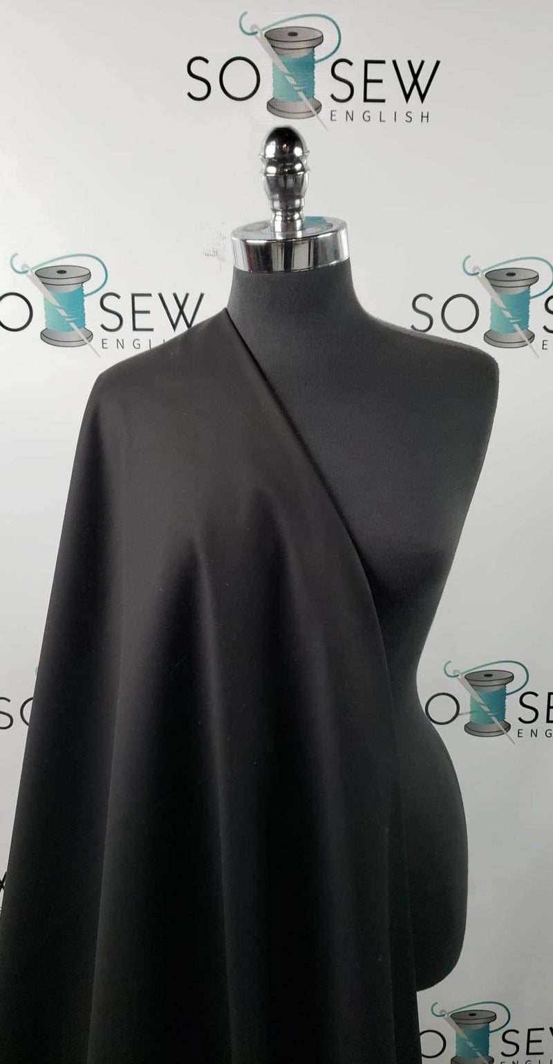 Solid Black - Brushed Loop Terry - By the yard