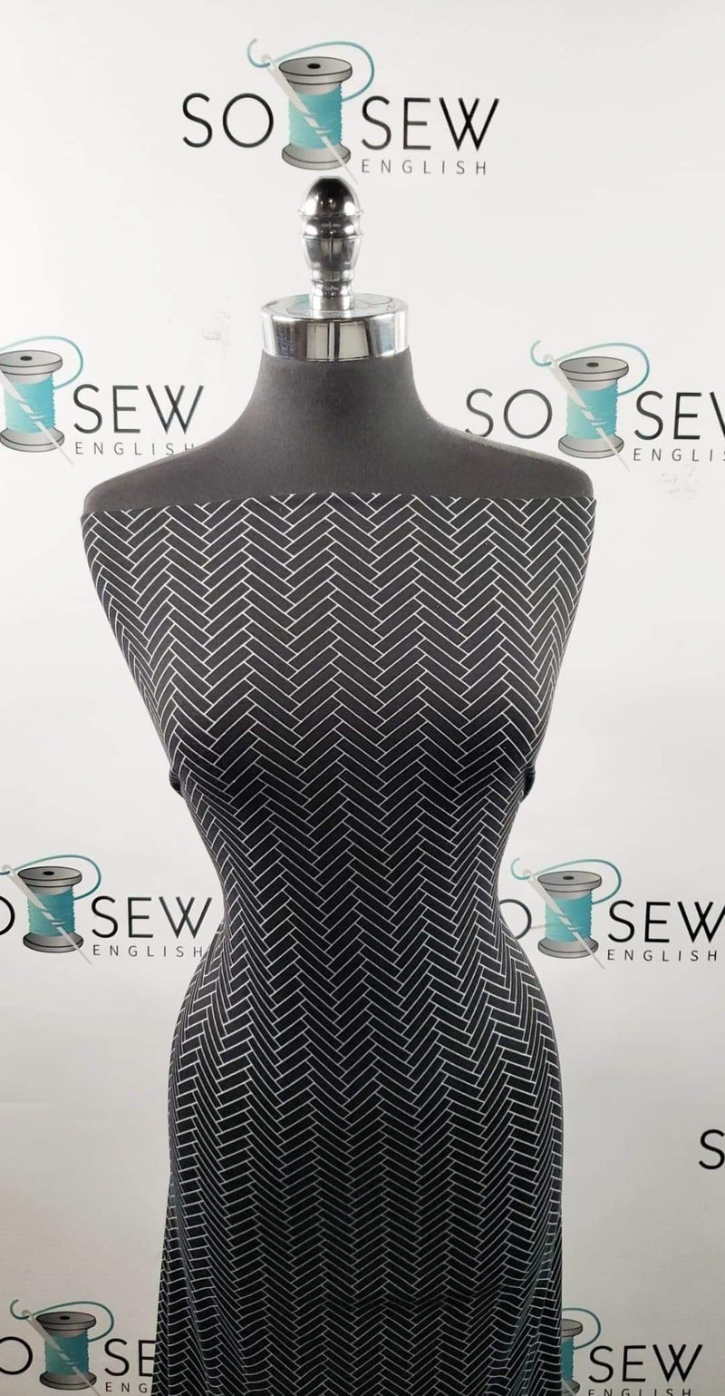 Black Tile Print - Spun Poly Spandex- By the yard