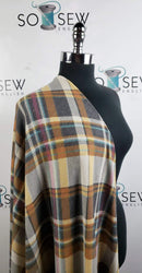 Mustard/Charcoal Diagonal Plaid - Waffle Knit - By the yard