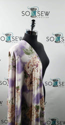 Purple/Mauve Tie Dye/Floral - French Terry - By the yard