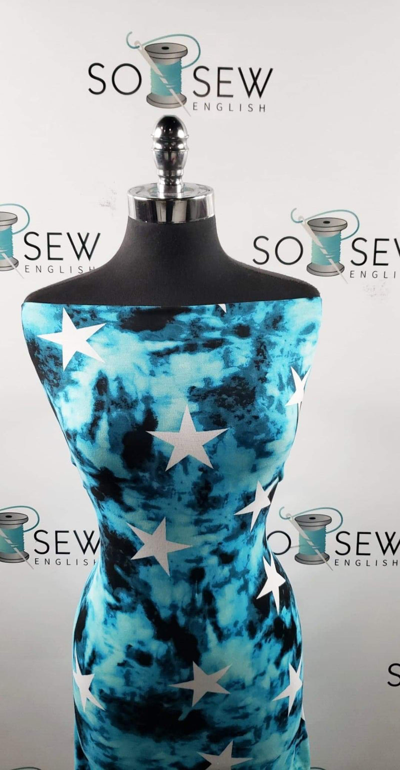 Blue Distressed Star - Double Brushed Poly Spandex -By The Yard
