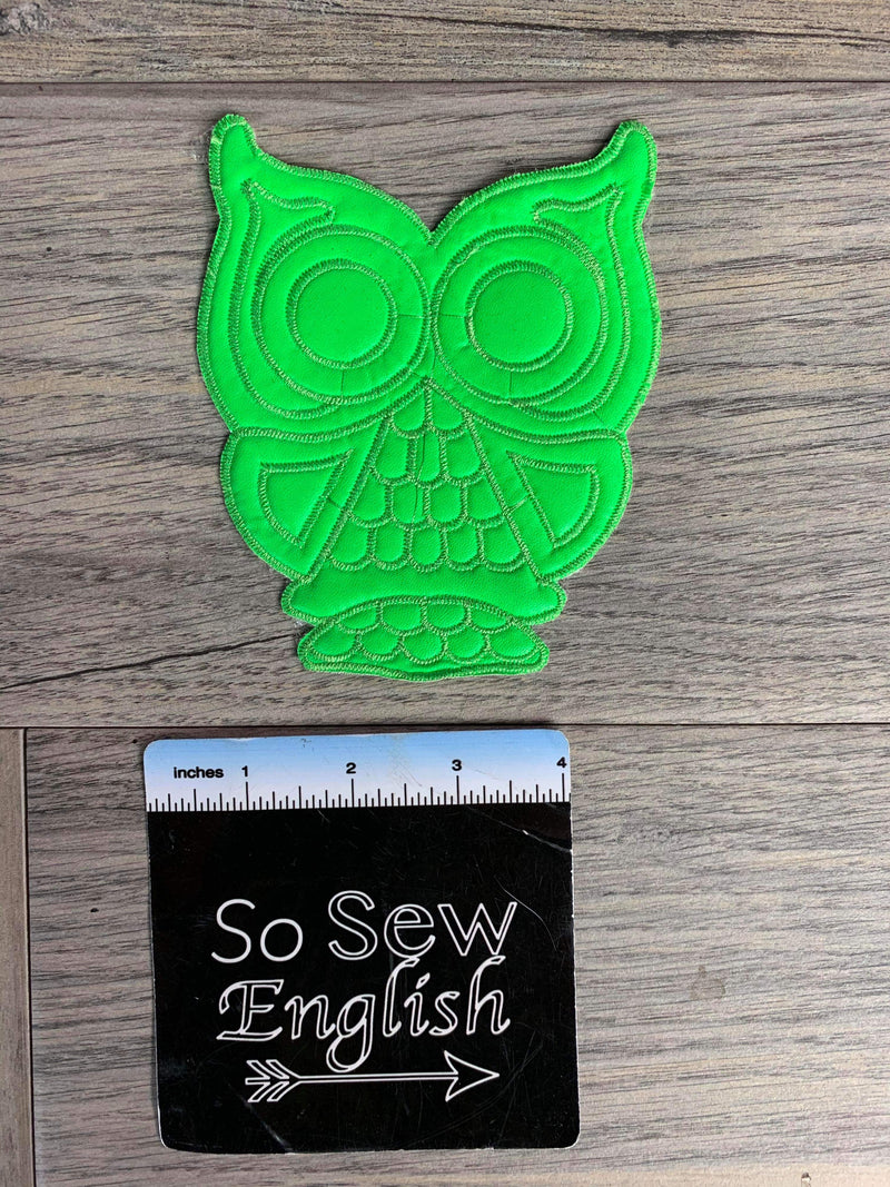 Neon Green OWL - APPLIQUE