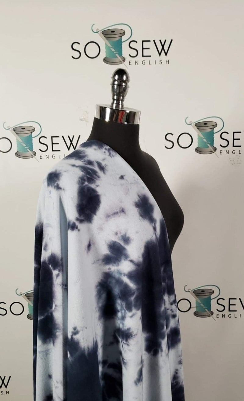 Navy/Palest Blue Tie Dye - Cotton/Poly French Terry - By The Yard