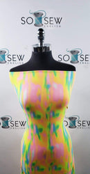 "Pink/Aqua/Neon ""Oil Slick""  Tie Dye - Double Brushed Poly - By The Yard"
