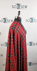 Red Tartan - Oakley Brushed Sweater Knit - By The Yard