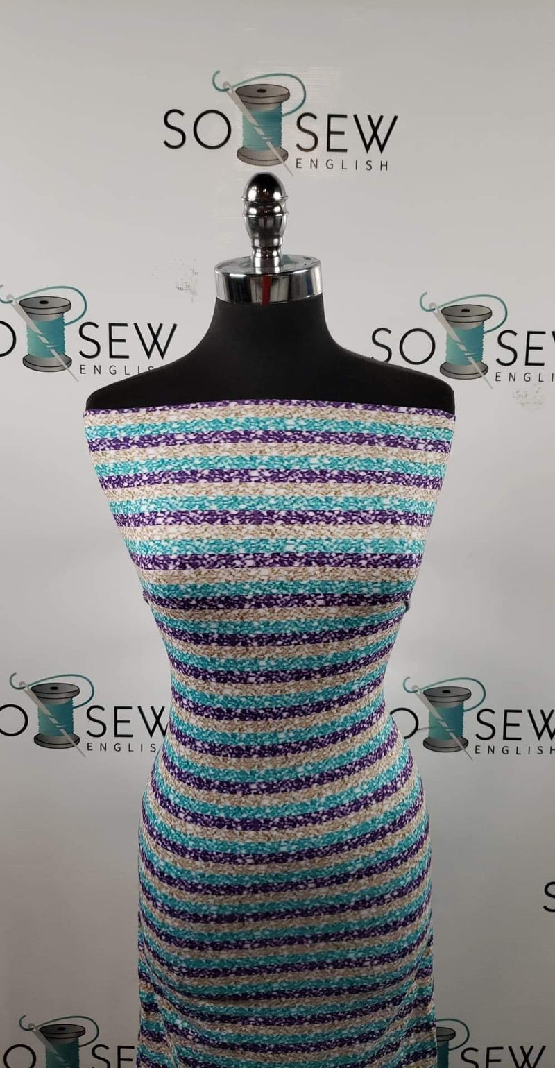 Teal/Purple/Gold Glitter Stripe - Double Brushed Poly Spandex -By The Yard (holiday)