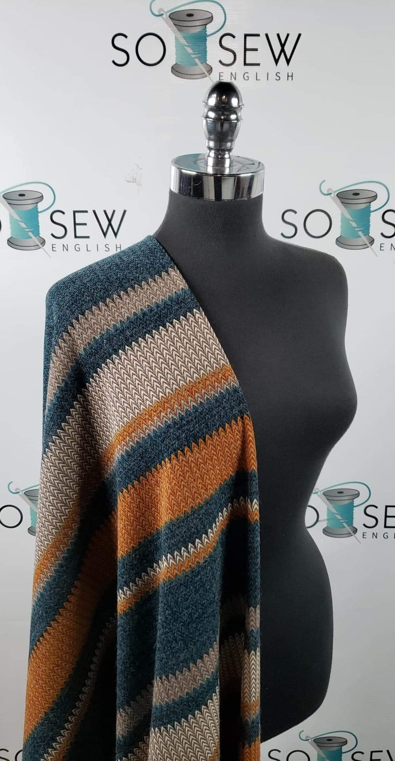 "Mustard/Teal ""Knit & Purl"" Stripe - Hacci Sweater Knit - By The Yard"