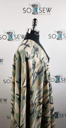 Sage/Sand Camo -Poly Rayon Spandex Brushed French Terry - By the yard