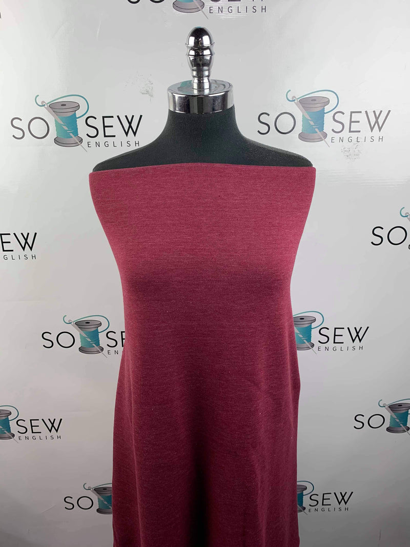 Solid SOFT BURGUNDY - Brushed French Terry - By the yard