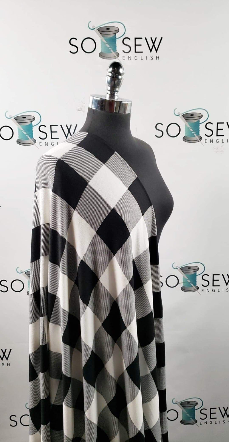 Ivory/Black Big Buffalo Plaid - Oakley Brushed Sweater Knit - By The Yard