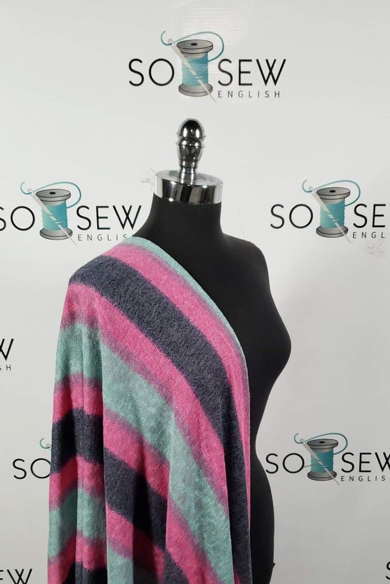 Pink/Charcoal/Mint Vertical Stripe - Light Sweater Knit - By The Yard