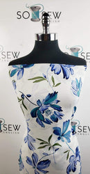Ivory/Blue Floral -Wool Dobby Woven- By the yard