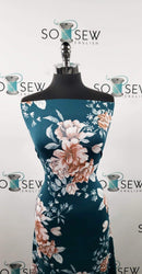 Teal Geri Floral - Double Brushed Poly Spandex - By The Yard