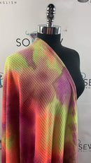 Neon Tie Dye -Brushed Waffle Knit- By the yard