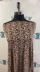 Taupe/Neon Coral Leopard - Double Brushed Polyester - By The Yard