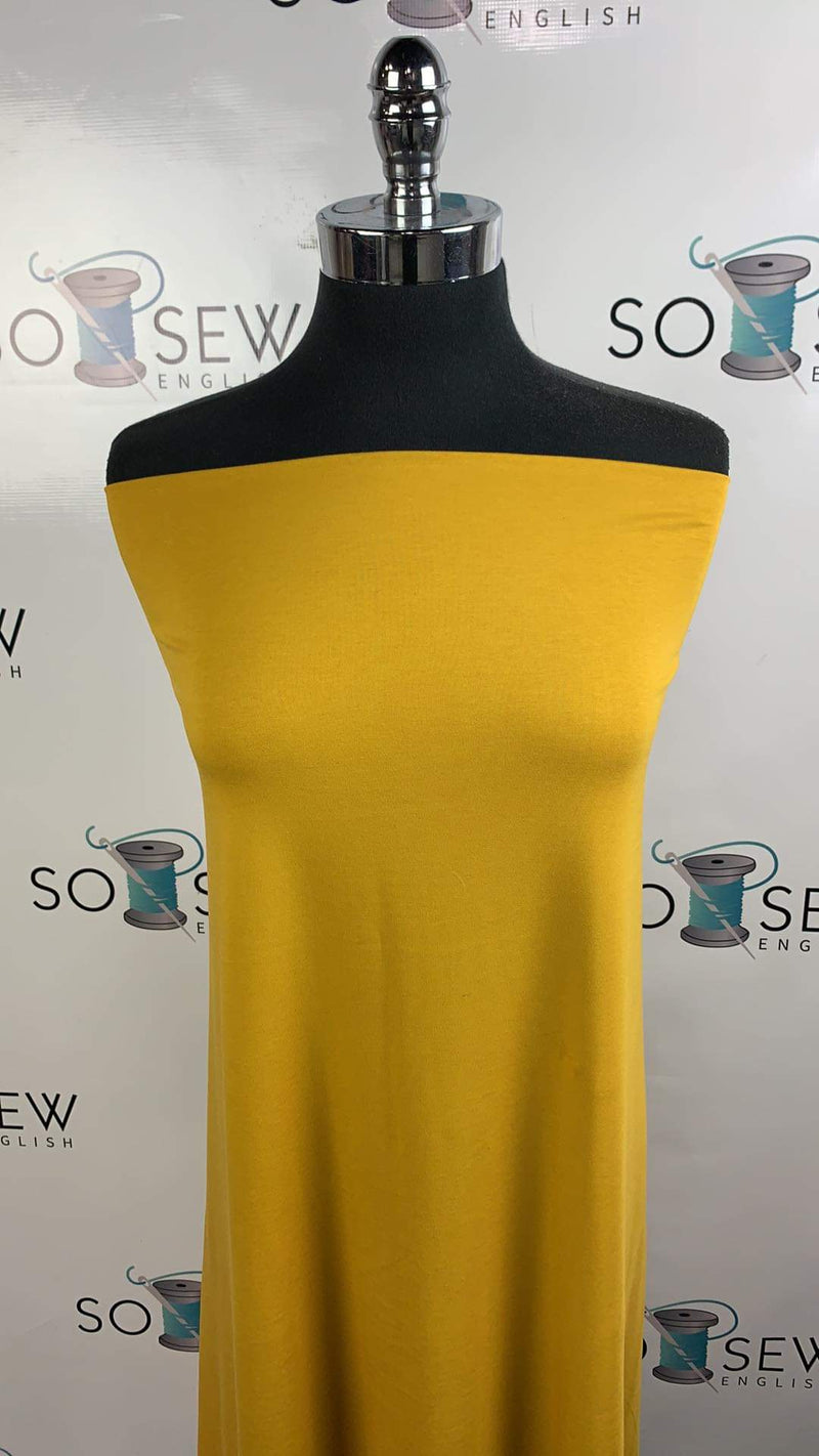 Solid Mustard -Micro Viscose Cotton Spandex - By the yard