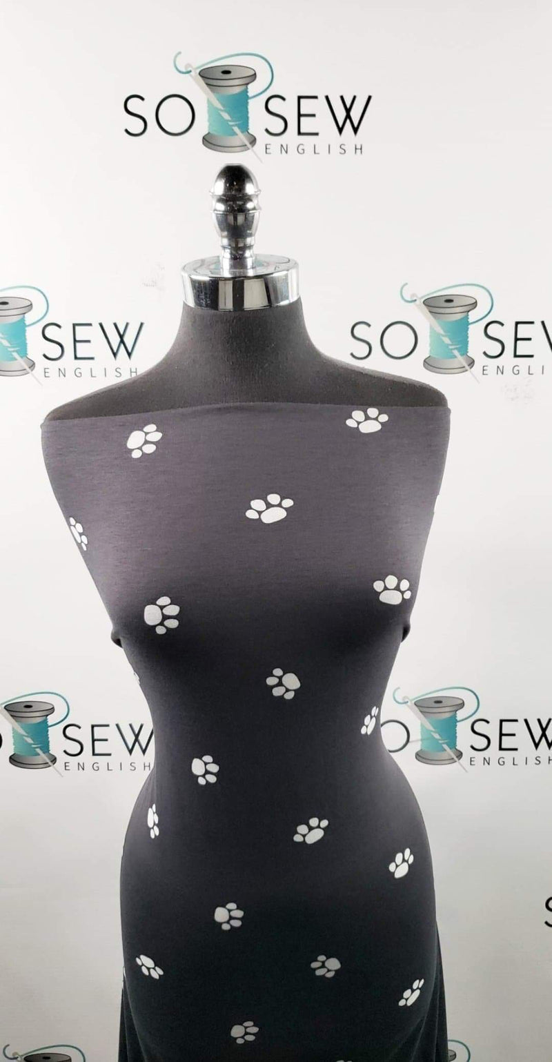 Black Paws - Spun Poly Spandex- By the yard