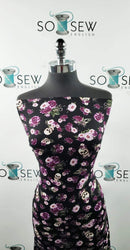 Black/Lavender Floral Skulls - Rayon spandex Knit - By the yard