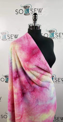 Deep Pink/Yellow Tie Dye - Faux Fur - By The Yard
