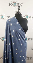 Blue/Ivory Stars - Brushed Rib Knit - By the yard