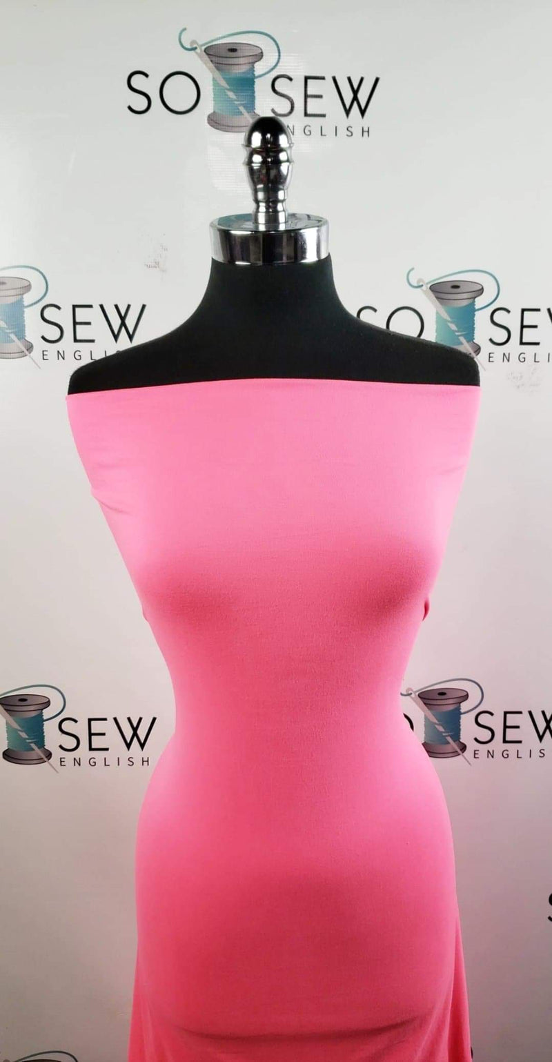 Solid Neon Pink - Double Brushed Poly Spandex - By The Yard