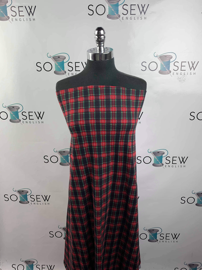 Red Black Plaid -Lightweight Cotton Spandex - By The Yard