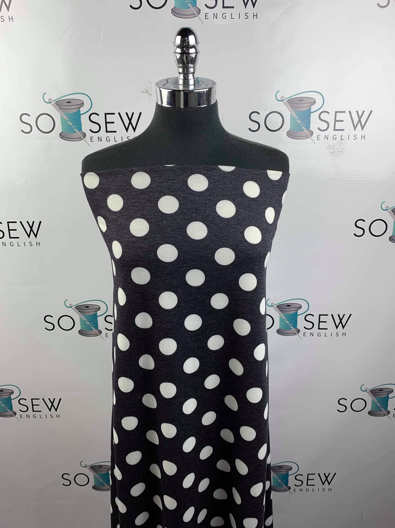 Charcoal/Ivory Big Dot -French Terry- By the yard