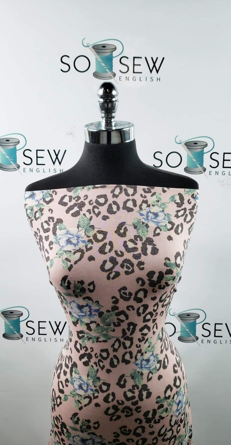 Blush/Blue Leopard Floral - Poly Rayon Spandex - By the yard