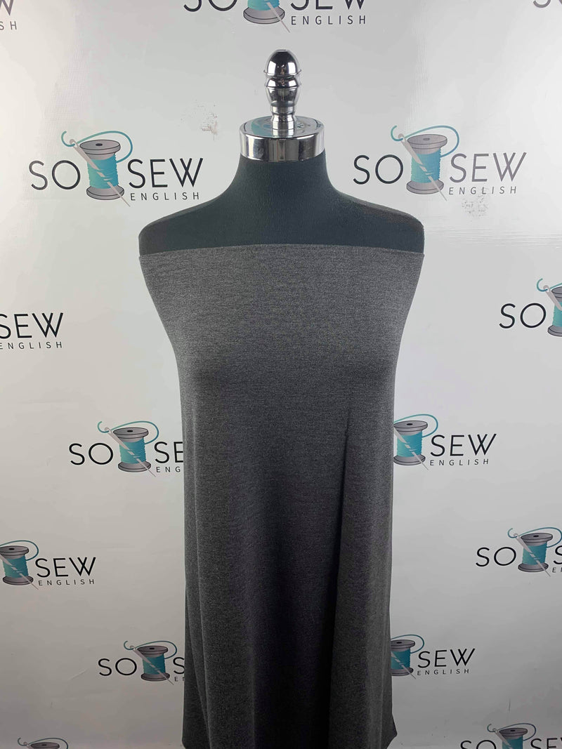 Solid Charcoal - Bamboo Spandex French Terry - By the yard