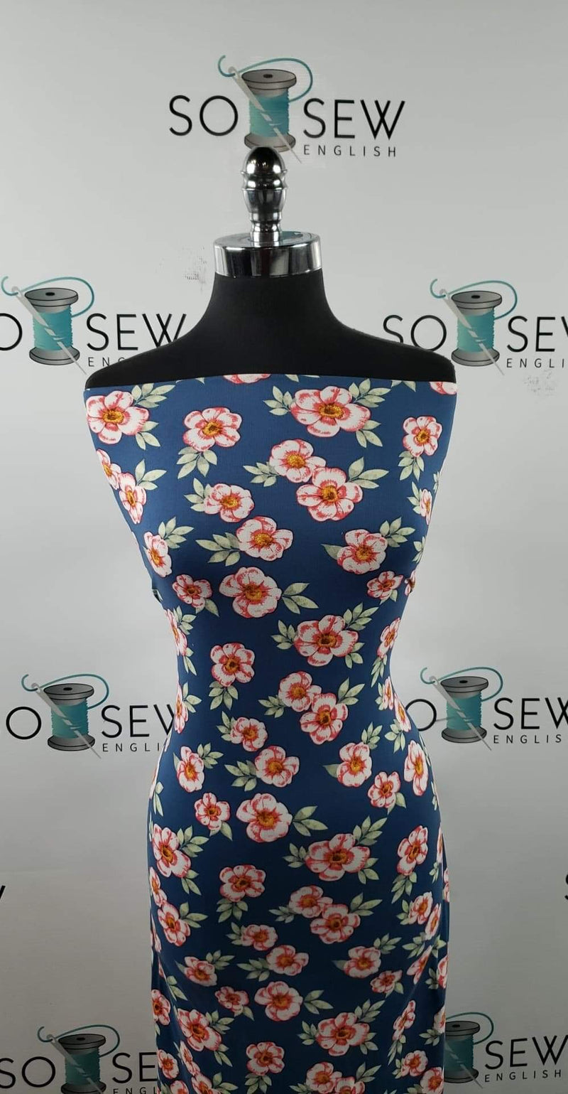 Blue Bridget Floral - Double Brushed Poly Spandex -By The Yard