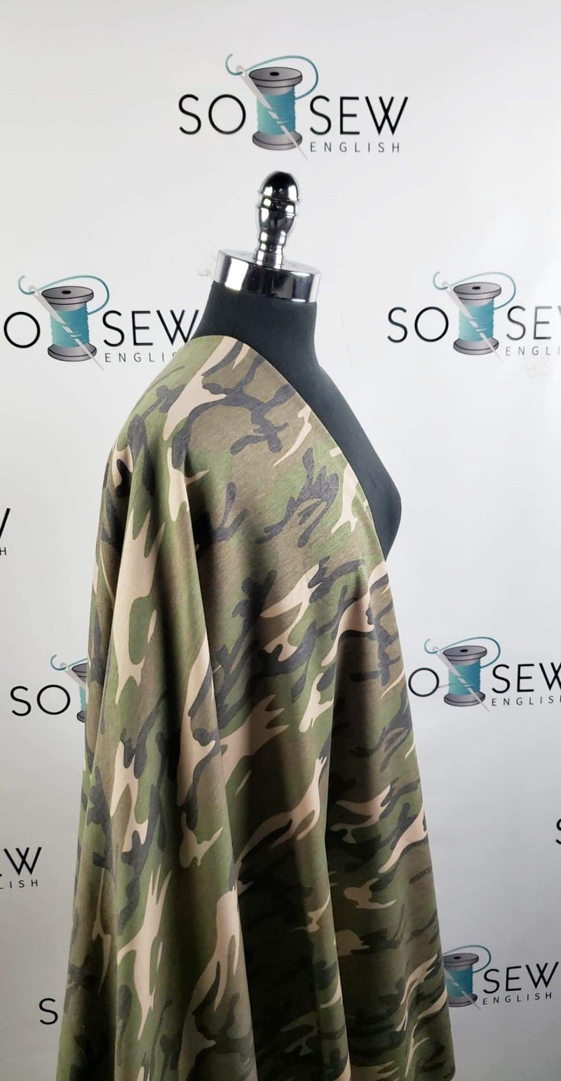 Olive/Brown Camo -Poly Rayon Spandex Brushed French Terry - By the yard