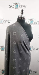 Charcoal/Ivory Stars - Brushed Hacci Sweater Knit - By The Yard