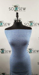 Royal Distressed Stripe - Spun Poly Spandex- By the yard